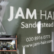 Jam Hair Shop Front Logo